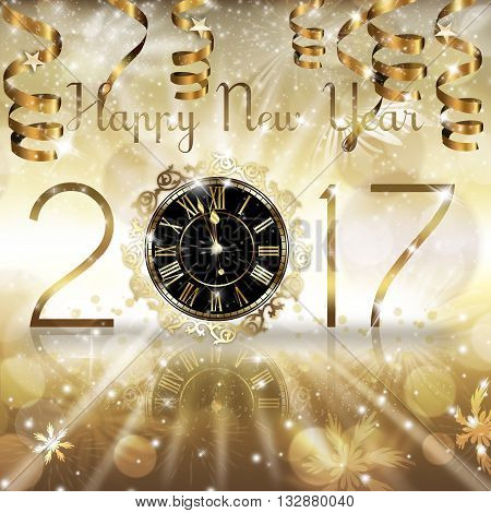Gold New Year numerals with a Clock and hanging gold ribbons