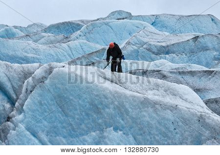 Mendenhall Glacier, Juneau, AK, USA - July 7, 2011: Ice climbing Mendenhall Glacier, Juneau, Alaska