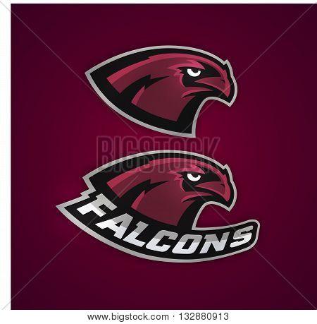 Modern professional baseball logo for sports team. Falcons baseball.