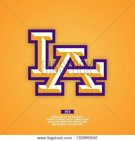 LA logo. Modern professional sport style logo. Los angeles baseball logo. American sport logo.