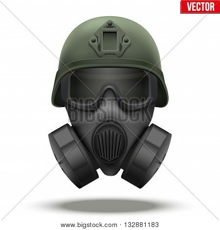 Military tactical helmet of rapid reaction with gas mask. Green color. Army and police symbol of defense. Editable Vector illustration Isolated on white background.