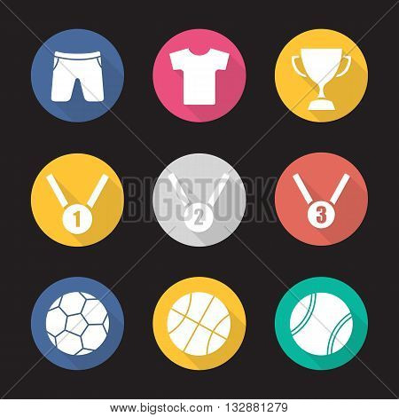 Sport equipment flat design long shadow icons set. Award ceremony items. Winner cup. Gold, silver and bronze medals. Basketball, tennis and soccer balls. Sport uniform. Vector symbols