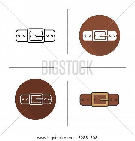 Leather belt icon. Flat design, linear and color styles. Men's accessory. Gentlemen's belt isolated vector illustrations