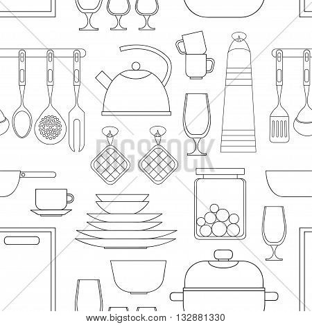 Cooking tools pattern. Hand-drawn design elements. Vector illustration with items for cooking.