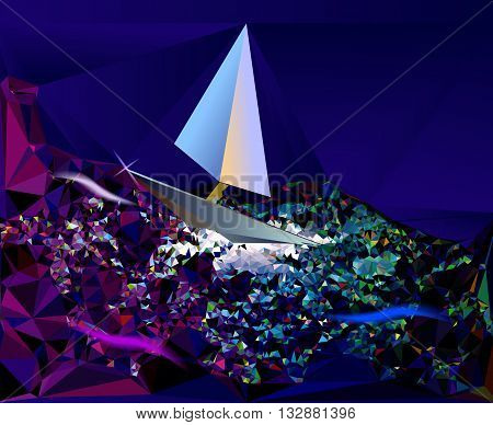 Abstract background of crystals and polygons resembling a night sea with sailboat