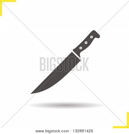 Chef's knife icon. Drop shadow cutlery silhouette symbol. Cooking instrument. Knife. Vector isolated illustration