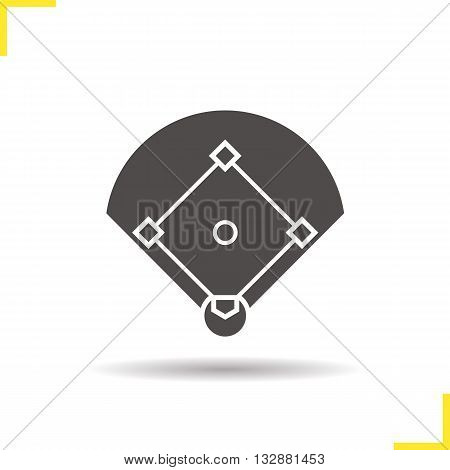 Baseball field icon. Drop shadow Baseball silhouette symbol. Sport game field. Vector isolated illustration