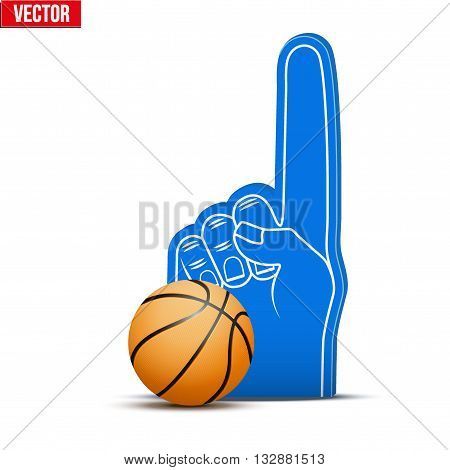 Symbol of Basketball Sports Fan Foam Fingers and ball. Vector Illustration Isolated on white background.