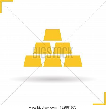 Gold bars icon. Drop shadow gold silhouette symbol. Gold bricks. Bullions. Bank gold. Vector isolated illustration