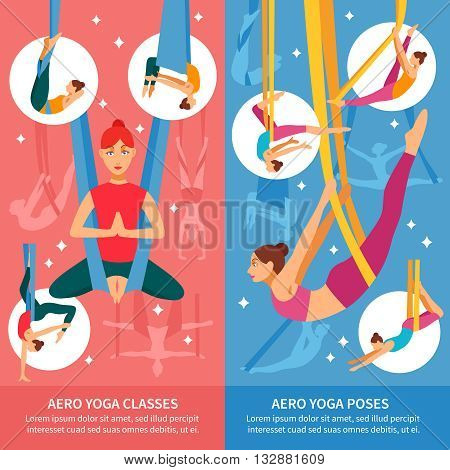Two vertical aero yoga banner or bookmark set with women in training and titles aero yoga classes and aero yoga poses vector illustration