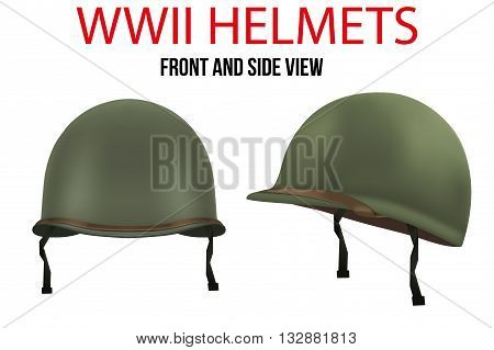 Set of Military US green helmets infantry of WWII. Side and front view. Metallic army symbol of defense. Vector illustration Isolated on white background.