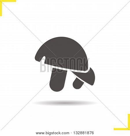 Mushrooms icon. Drop shadow champignons silhouette symbol. Vegetarian ingredient. Fungus. Vector isolated illustration