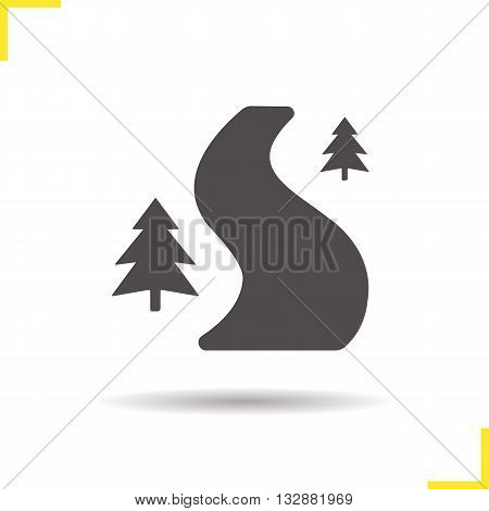 Forest road icon. Drop shadow country road silhouette symbol. Curved forest road. Winding forest road logo concept. Vector forest road isolated illustration