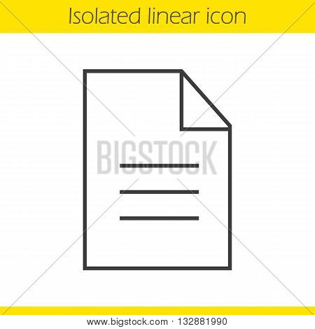 New document linear icon. Application form thin line illustration. File contour symbol. Vector isolated outline drawing