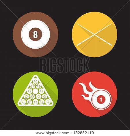 Billiard flat design long shadow icons set. Eight ball, cues, ball rack and burning ball. Pool equipment. Cuesports accessories. Vector symbols