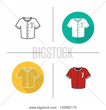 Baseball shirt flat design, linear and color icons set. Sport uniform. Bowling shirt. Contour and long shadow symbol. Baseball shirt logo concepts. Isolated vector illustrations. Infographic elements