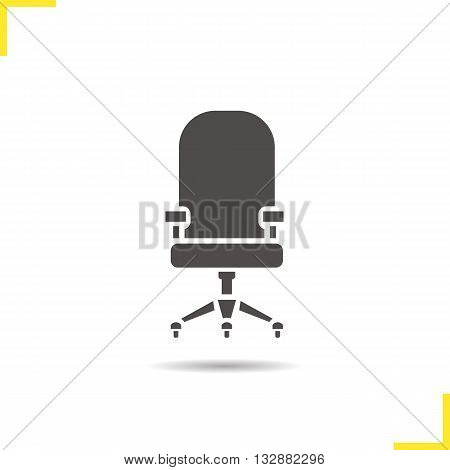 Computer chair icon. Drop shadow office chair silhouette symbol. Comfortable computer chair. House and office furniture. Computer chair logo concept. Isolated vector illustration