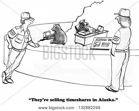 Business cartoon about entrepreneurial bears at the zoo.