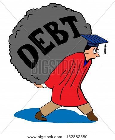 Education cartoon about the heavy debt load students carry due to high tuition.