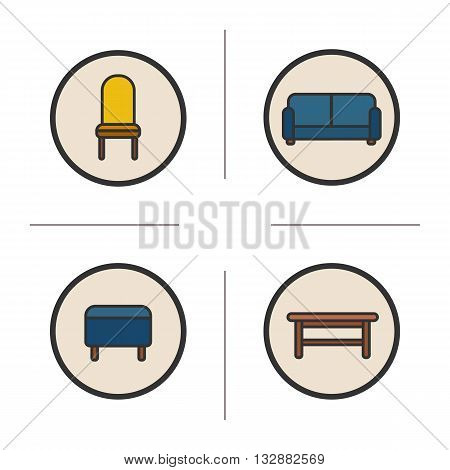 Sitting furniture color icons set. Modern house interior items. Upholstered chair, stool, sofa and wooden bench. Vector isolated illustrations