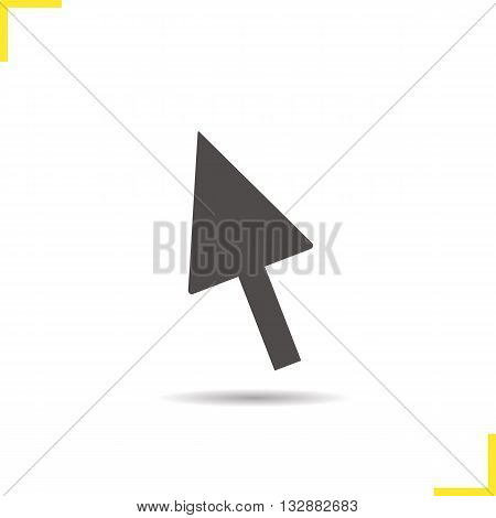 Computer mouse arrow icon. Drop shadow pointer silhouette symbol. Computer cursor. Vector isolated illustration