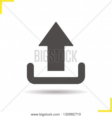 Upload arrow icon. Drop shadow silhouette symbol. Files uploading icon. Vector isolated illustration
