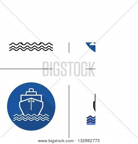 Ship flat design, linear and color icons set. Sea transportation vessel. Shipping. Contour and long shadow symbols. Ship logo concepts. Isolated vector illustrations. Infographic elements