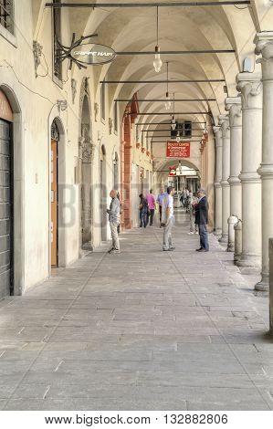 REGGIO EMILIA ITALY - October 06.2011: Gallery along the shops on the city street