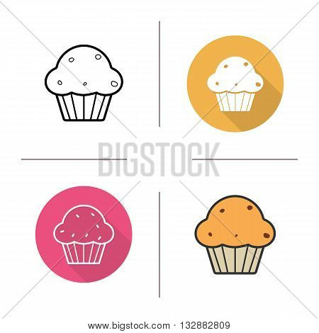 Cupcake icon. Flat design, linear and color styles. Confectionery product. Pastry. Muffin isolated vector illustrations