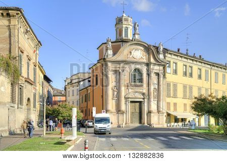 REGGIO EMILIA ITALY - October 06.2011: The old Catholic cathedral of San Giorgio