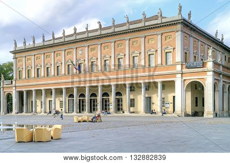 REGGIO EMILIA ITALY - October 06.2011: Municipal Theatre named Romolo Valli at Martyrs Square