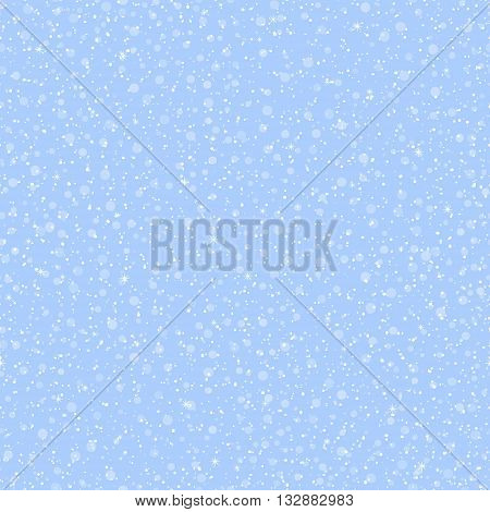 Seamless pattern with round snowflakes varying size and transparency, with little stars, on blue background