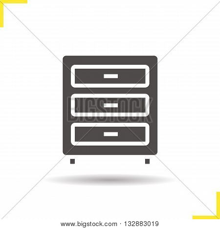 Dresser icon. Drop shadow chest of drawers silhouette symbol. Modern house furniture item. Dresser logo concept. Vector chest of drawers isolated illustration