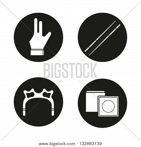Billiard black icons set. Pool cues, glove, rest head and chalk. Cuesports equipment. Vector white illustrations in circles