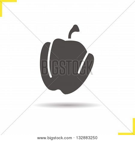 Bell pepper icon. Drop shadow capsicum silhouette symbol. Seasonal agricultural vegetable. Paprika logo concept. Vector green pepper isolated illustration