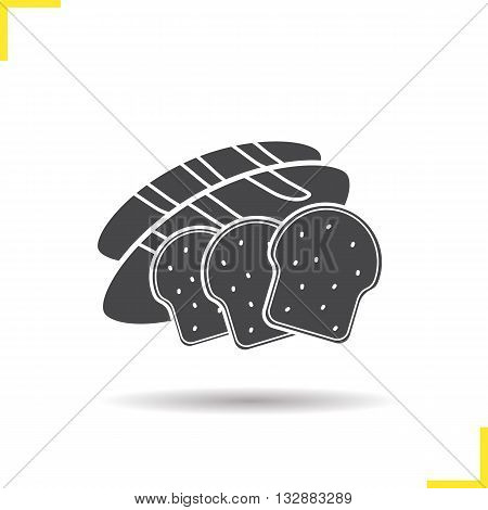Bread icon. Drop shadow sliced bread silhouette symbol. Toasts icon. Bakery products. Bread logo concept. Vector sliced bread isolated illustration