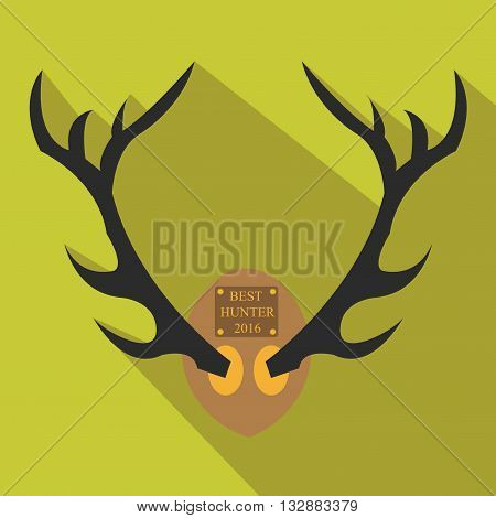 Deer antlers. Horns icon in flat style with long shadow. Vector silhouette.Hunting season.