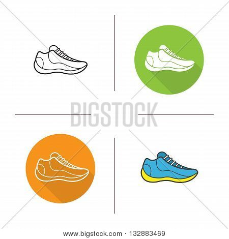 Sneaker flat design, linear and color icons set. Modern sport footwear. Sport shoe. Contour and long shadow symbols. Sneaker logo concepts. Isolated vector illustrations. Infographic elements