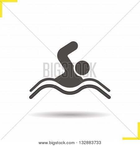 Swimmer icon. Isolated swimmer vector illustration. Drop shadow swimming pool icon. Swimmer athlete competition. Swimmer symbol. Swimmer icon logo concept. Vector swimming. Silhouette swimmer symbol