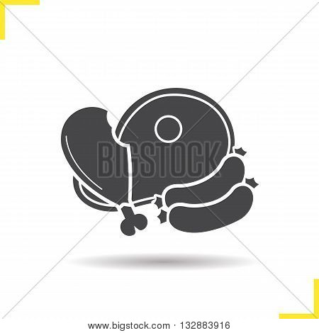 Meat products icon. Drop shadow chicken leg, sausages and beef steak silhouette symbol. Butcher's shop. Meat products logo concept. Vector chicken leg, sausages and beef steak  isolated illustration