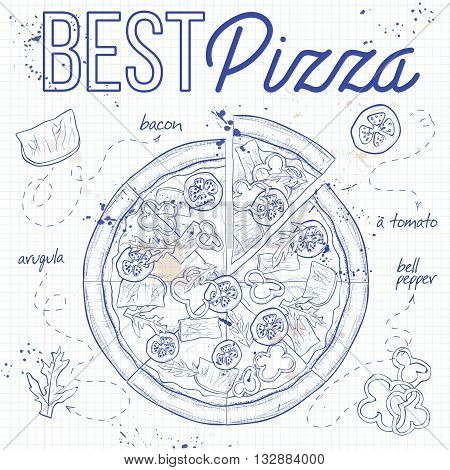 Pizza with bacon on a notebook page. Fast food. Hand drawn vector illustration.
