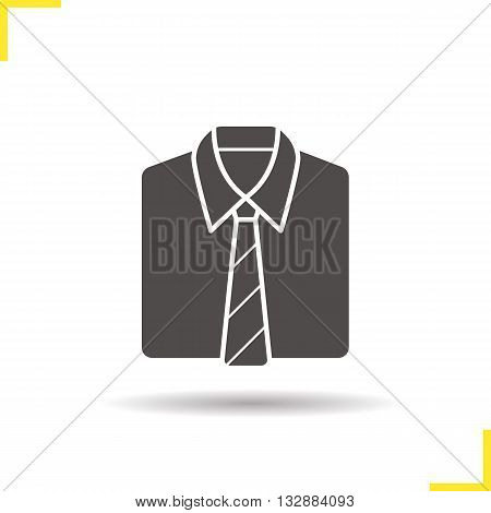 Shirt and tie icon. Drop shadow uniform silhouette symbol. Formal men's clothes. Shirt and tie logo concept. Vector uniform isolated illustration