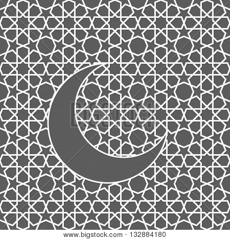 Islamic greeting card with moon. Islamic Ramadan decoration. Islamic pattern vector illustration.