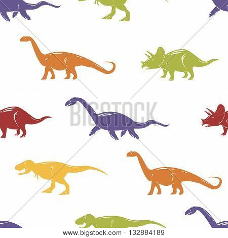 Seamless pattern with colorful dinosaurs on white background. Vector illustration.