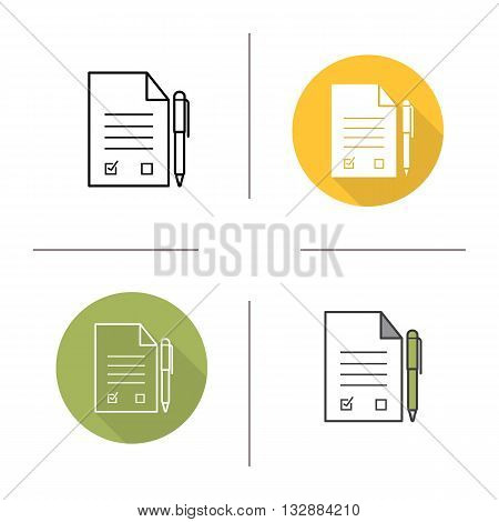 Contract flat design, linear and color icons set. Signed business contract. Agreement. Contour and long shadow symbols. Deal logo concepts. Isolated vector illustrations. Infographic elements