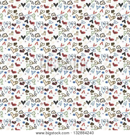 Seamless pattern heart doodles Hand-Drawn Vector Illustration Background