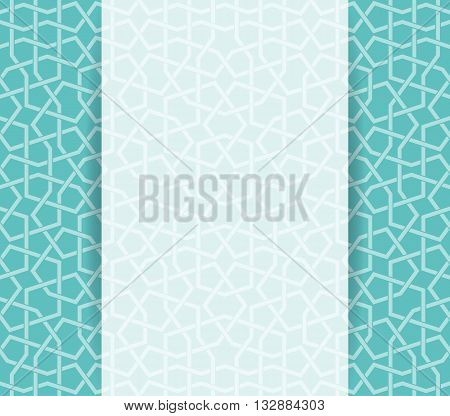 Islamic green pattern. Greeting ramadan flyer in islamic design. Vector invitation background in islamic style
