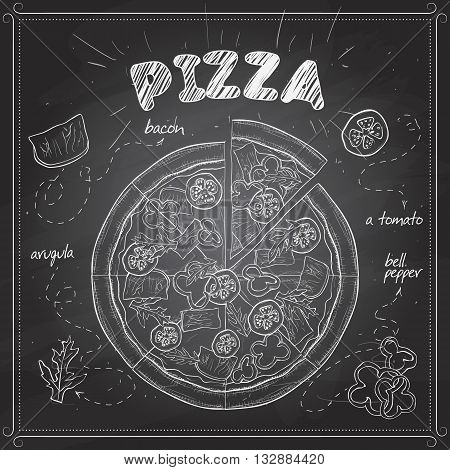 Pizza with bacon sketch on a black board. Fast food. Hand drawn vector illustration.
