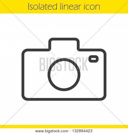 Camera linear icon. Photographer's equipment thin line illustration. Photo camera contour symbol. Vector isolated outline drawing