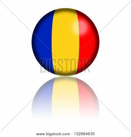 Chad Flag Sphere 3D Rendering